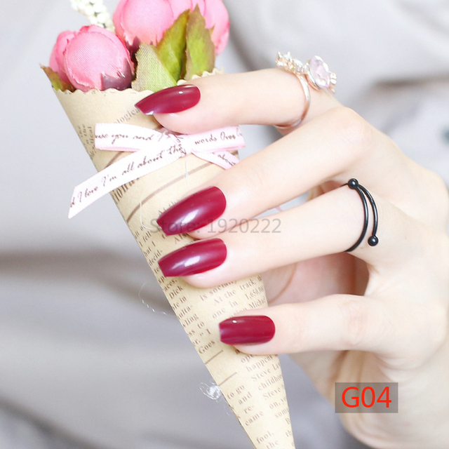 24pcs Fashion Section Candy Color Coffin Shape Nails Popular Sales Of The King Sexy