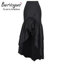 Burvogue Women Summer Long Skirt High Waist Skirts Fashion Vestidos Perspective Long Steampunk Skirts With Bow