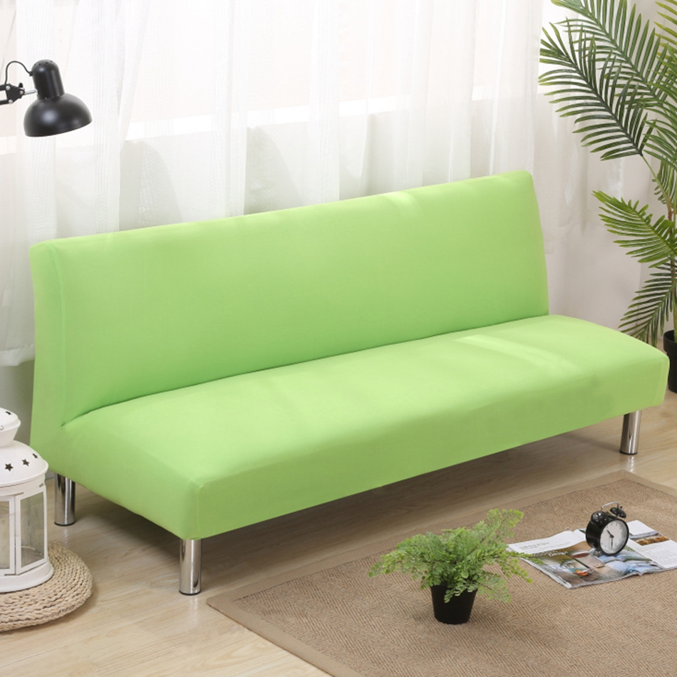 Solid color armless couch sofa covers for home decor green for Armless sectional sofa slipcovers