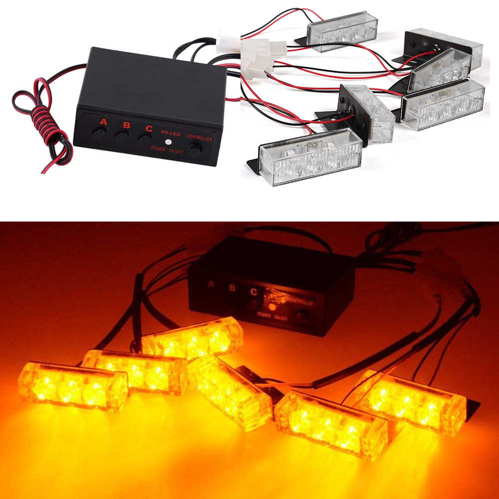 12V Car Grille Strobe Light Head LED Mini Flash lamp Daytime running lights Police Emergency Warning Flashing Signal light