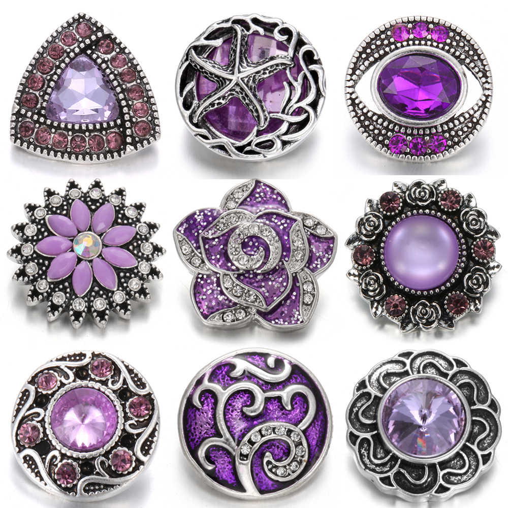 10pcs/lot Mixed Purple Snap Jewelry 18mm Snap Buttons Jewelry Rhinestone Flower Metal Snaps Jewelry Fit Snap Button Necklace
