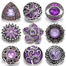 6pcs/lot Mixed Purple Snap Jewelry 18mm Buttons Rhinestone Flower Metal Snaps Fit Button Necklace