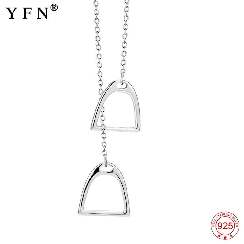 Necklace 925 Sterling Silver Lucky Double Horse Hoof Pendants Horseshoe Necklaces For Women Fashion Jewelry Christmas Gifts