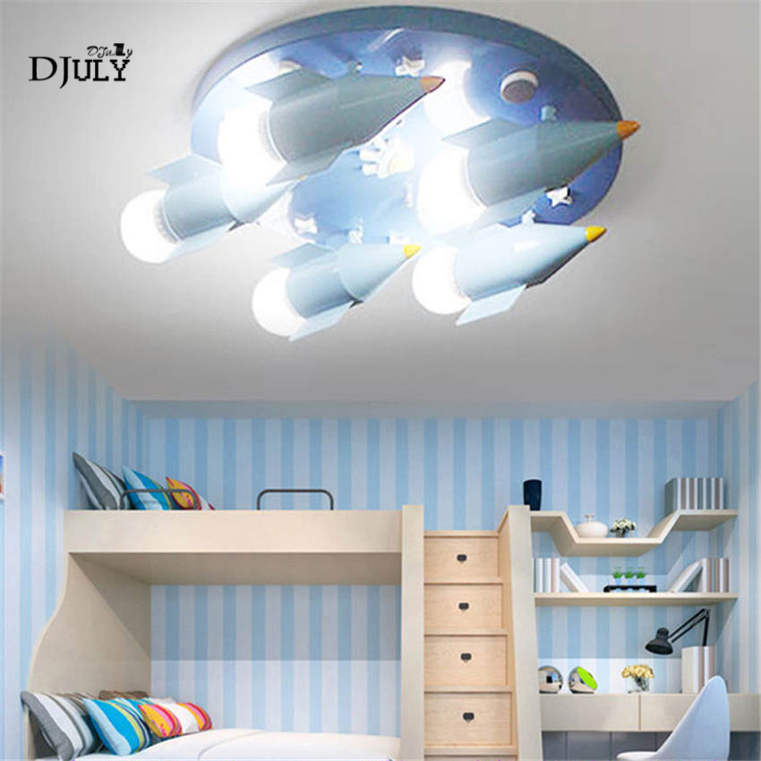 modern boy bedroom deco 5 heads rocket ceiling lamp glass lampshade for living room study Playground creative led ceiling light