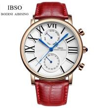 IBSO Moda Mujeres Mujer Reloj de Cuarzo de Lujo de Cuero Genuino Reloj Análogo Relogio Feminino IB19