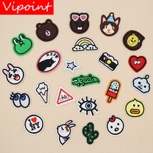 VIPOINT embroidery bear rabbit patches frog cartoon badges applique for clothing XW-43