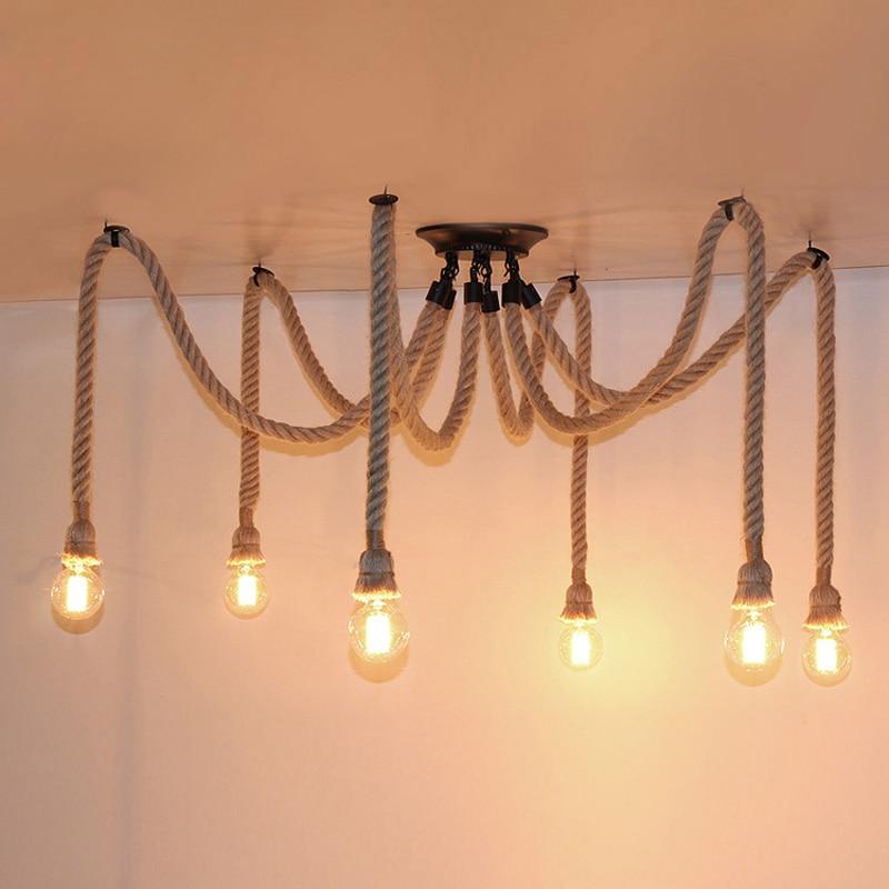 Vintage Industrial American Style Retro Spider Hanging Light Hemp Rope Pendant Lamp Living Dinning Coffee Bar Restaurant Decor