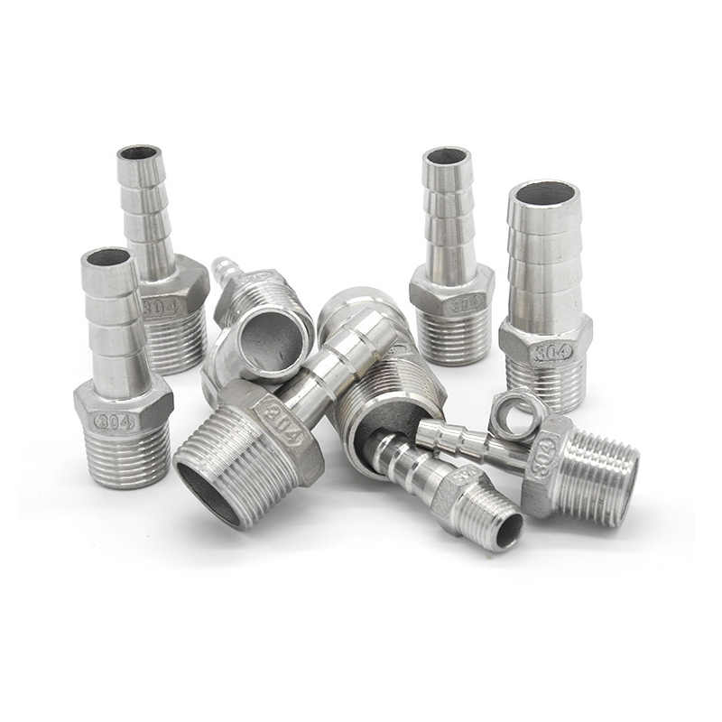 Xucus 1//4 BSP Male x 1//8 BSP Male Thread Hex Nipple Reducer 304 Stainless Steel Threaded Pipe Fitting Connector for Water Oil Air