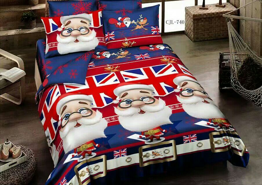 Merry Christmas Santa Claus print bedding sets for childrens kids bedding set full queen king size bedspread bed covers 4 pieces