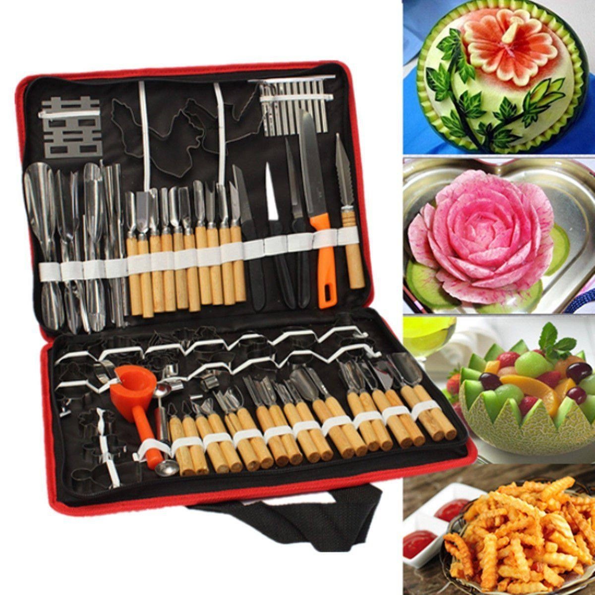 80x Professional Pumpkin Engraver Carving Tool Kit Set Carve Knife Kitchen Fruit 6 slicer 4 fruit knife parer kitchen tool set white black