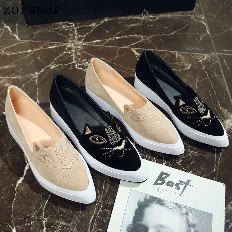 2019 Autumn women flats shoes Pointed women platform shoes   leather     suede   casual shoes slip on flats Creepers footwear