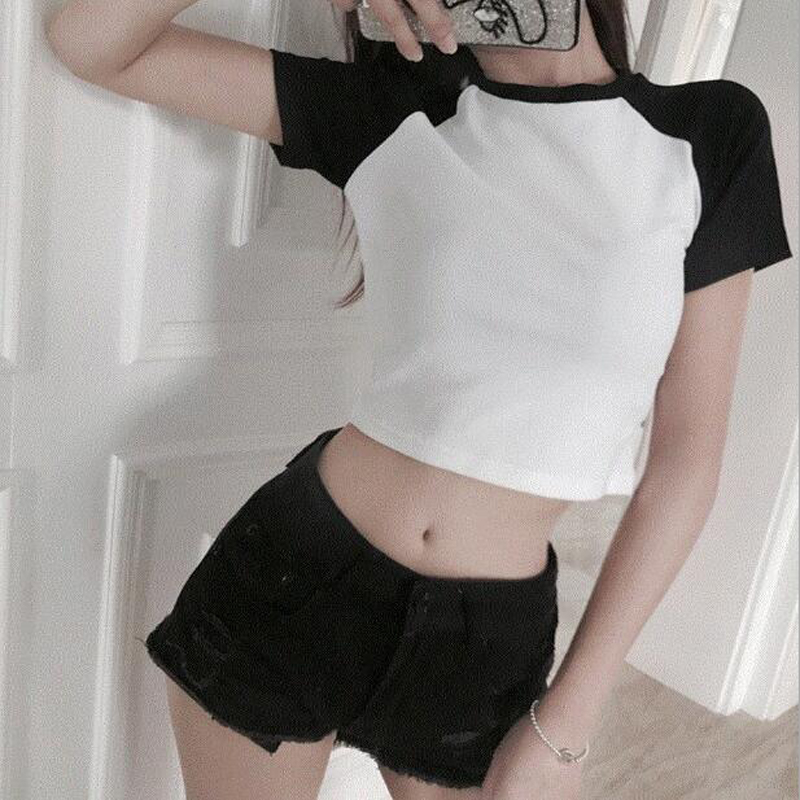 Spring Summer New Women T-shirt Sexy Patchwork Color Short Sleeve O Neck Short Length Women Tops Casual Slim T Shirt Femme