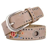 Fashion New Rivet Ladies Belt Wide Wild Flowers Jeans Belt For Women Buckle Strap Free Delivery