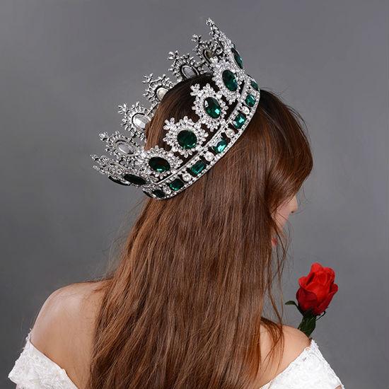 big European royal crown golden rhinestone imitation ruby tiara super large quinceanera crown wedding hair accessories crown (2)