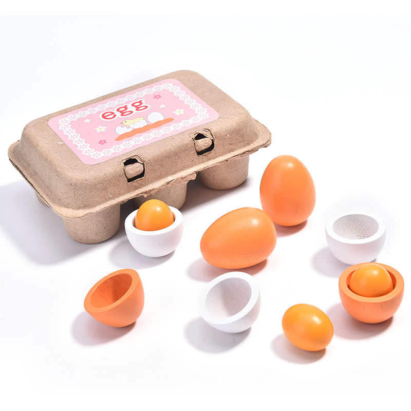 Wooden Eggs Yolk Pretend Play Kitchen Toys Food Cooking Kid Toy new 6Pcs