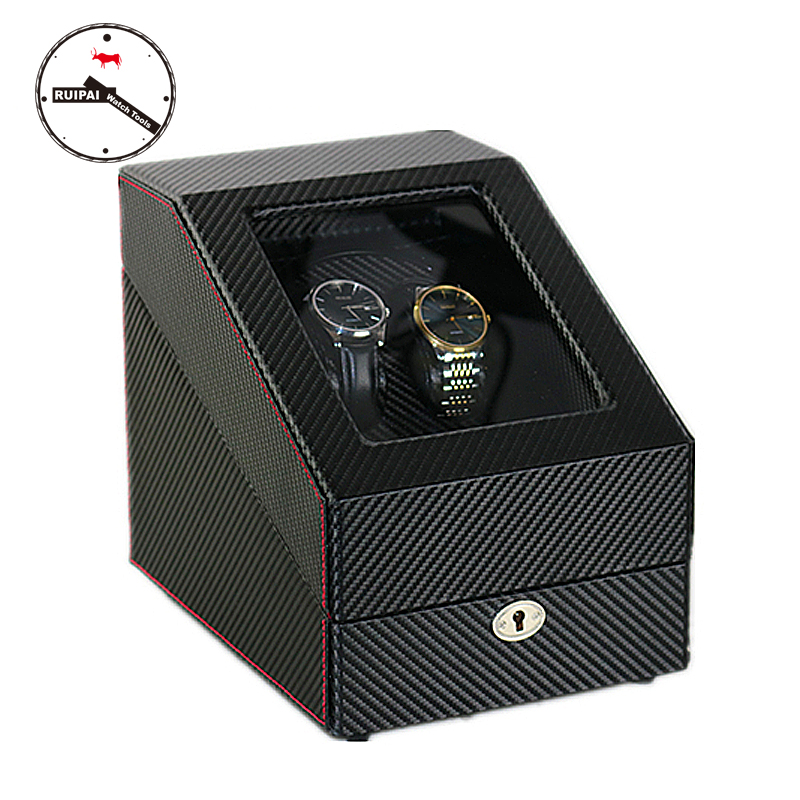 2017 Latest Wood Watch Winder Black Carbon Fibre Ultra Quite Motor 5 Modes Automatic Watch Winder 2016 latest luxury 5 modes german motor watch winder yellow spray paint wooden white pu leater inside automatic watch winder