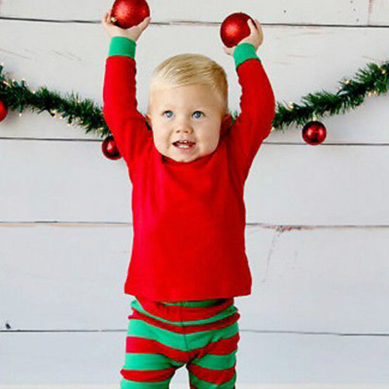 Christmas Baby Boys Girls Kids Xmas Sleepwear Nightwear Homewear Pajamas Pjs Set 2015 new arrive super league christmas outfit pajamas for boys kids children suit st 004