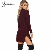 Yanueun 2017 Women Sweaters And Pullovers Ladies Side Split Sexy Dress Casual Turthleneck Ripped Knitted