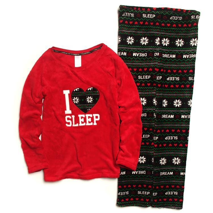 Womens\adults Winter Cotton Warm Coral Fleece  Christmas Sleepwears Red Striped Snowflake Pyjama\pajama\pijama Sets For Mujer