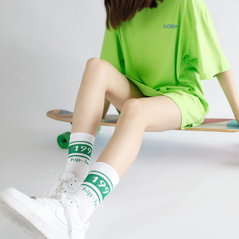 2018 Tide Brand 1997 Digital funny   Socks   female & hosiery Motion   Socks   Letter Cotton Canister Long   Socks   Men And Women harajuku