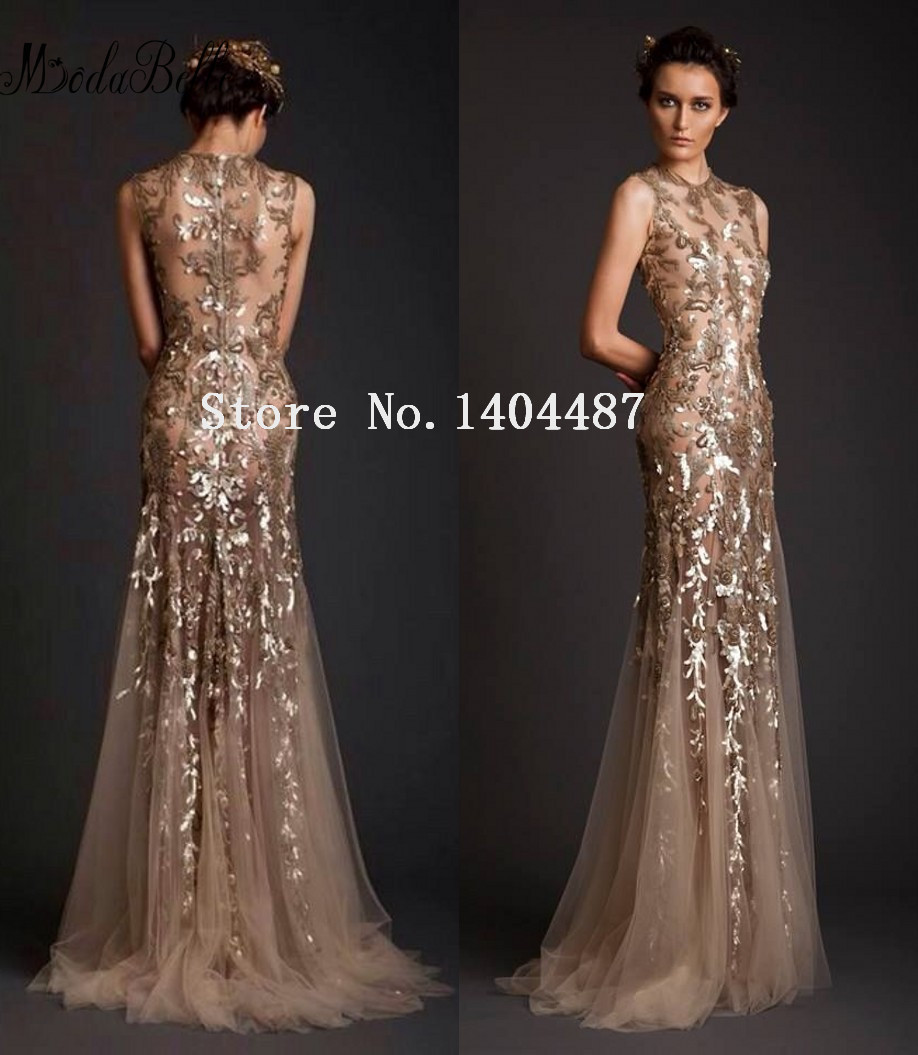 Hot Sale O Neck Sleeveless Appliques Sequin Elie Saab Long Mermaid ...
