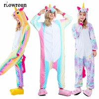 Wholesale Unicorn Stitch Unisex Flannel Hoodie Pajamas Costume Cosplay Animal Onesies Sleepwear Men Women Adults Free