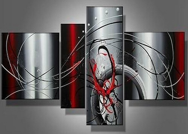 Handmade 4 piece black white red silver modern abstract wall art oil painting on canvas pictures