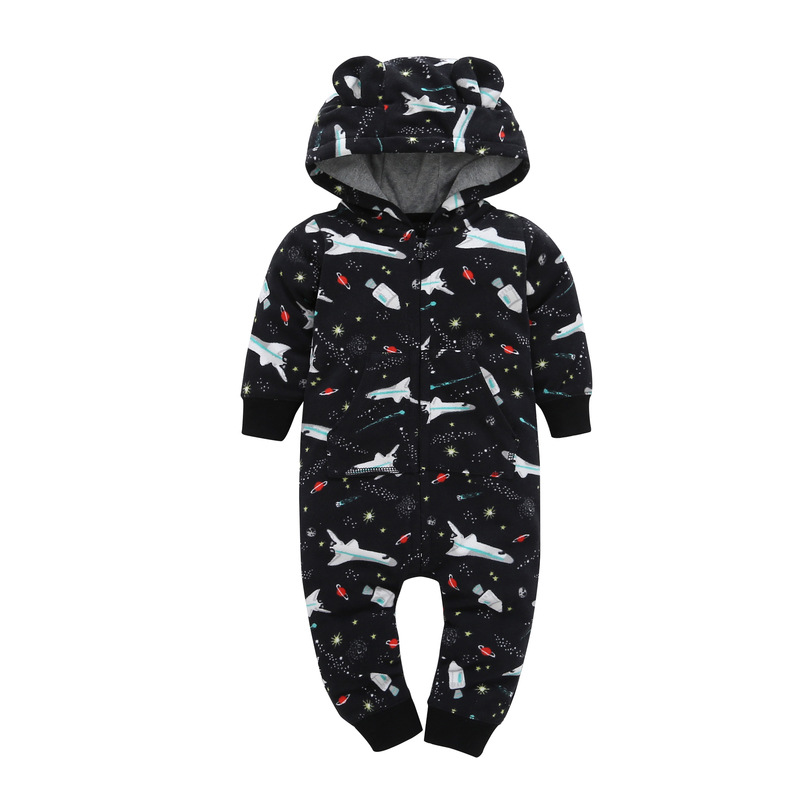 Autumn & Winter Newborn Infant Baby Clothes Fleece Jumpsuit Boys Romper Hooded Jumpsuit Bear Onesie Baby baby winter clothes