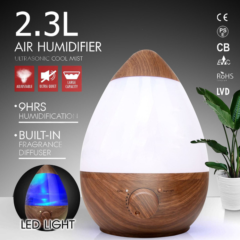 OUTAD 2.3L Wood Air Humidifier Home Quiet Fragrance Water Drop Egg Shaped Humidifier Ultrasonic Aromatherapy Humidifier Purifier