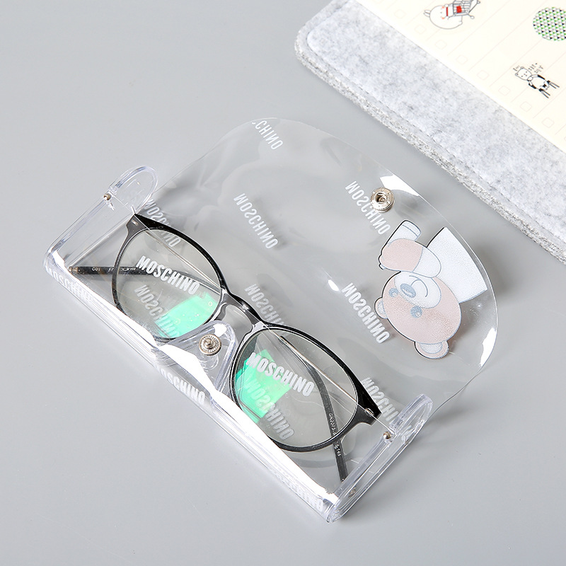 1pcs Cartoon Animals Transparent Plastic Eye Glasses Protector Case With Metal Button Sunglasses Box Fruit Animal Pencil Case Pens, Pencils & Writing Supplies Pencil Cases