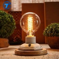 TRANSCTEGO rocznika ceramiczne lampy edison lampy biurko dekoracji Drewna retro lamparas de mesa tabeli światła lampki nocne światło dla sypialni