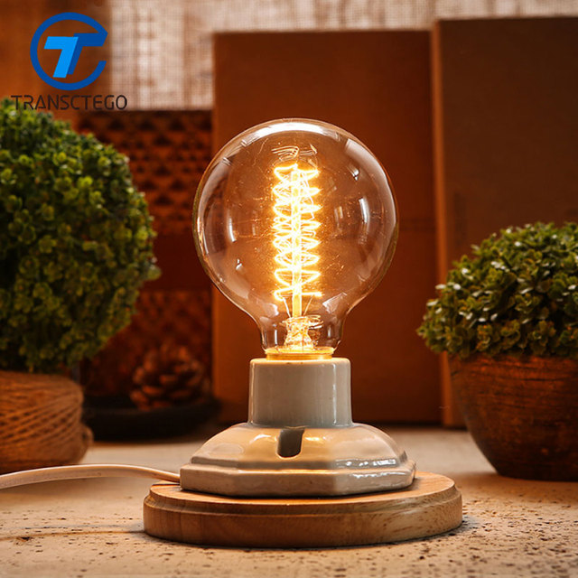 TRANSCTEGO vintage ceramic lamp Wood edison desk lamp decoration retro  bedside light for bedroom table light