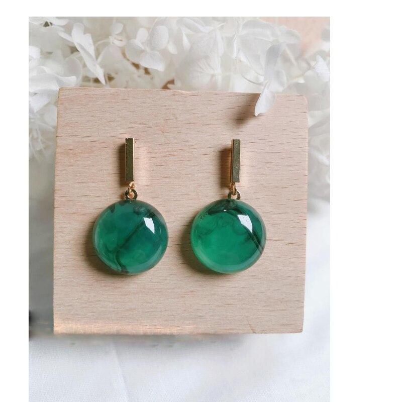Dayoff Korea Vintage Earrings Temperament Round Earrings For Women Jewelry Resin Stone Simple Green Gold Dangle Earrings E607