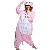 Roze Rat Muizen Kostuum Nachtjapon Cartoon Dier Cosplay Rompertjes Pyjama Jumpsuit Hoodies voor Halloween