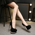 Hot Sale 2017 New Spring Round Toe Platform Women Pumps Sexy Casual Female Stiletto Shoes Wedding Party Shoes 16cm SMYYKM-D0006