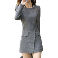 2019 Autumn Winter New Cashmere Coat Women Long Slim casual Woolen Jackets Women's Korean Long sleeve Gray Wild Overcome F380