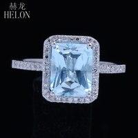 HELON 8,5x6,5 мм изумруд натуральный голубой топаз Твердые 10 К розовое золото природных алмазов Обручение Свадебные для женщин Jewelry Кольцо