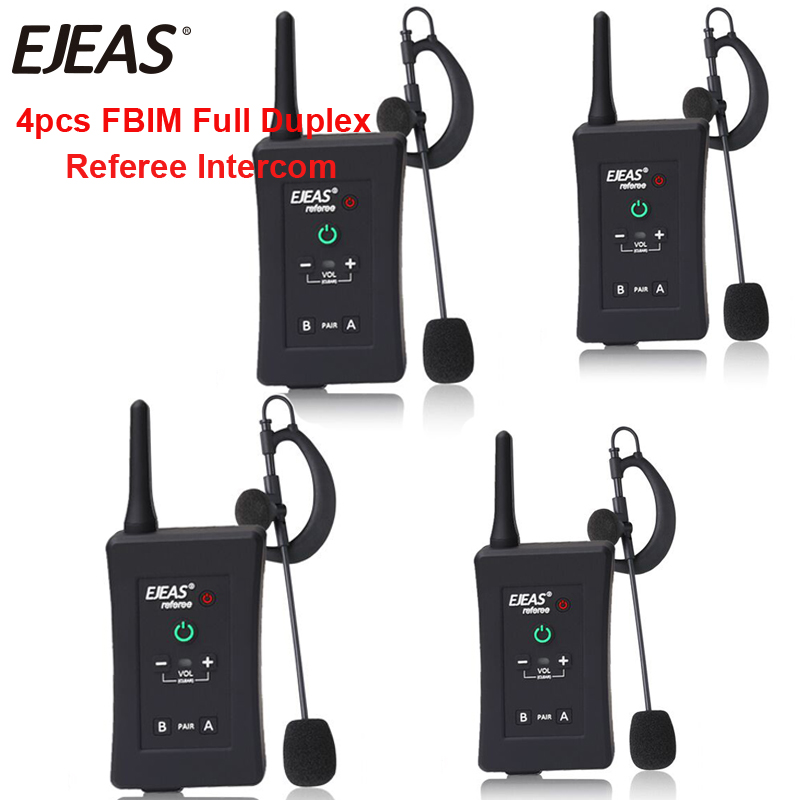 4 pcs 2018 Dernière EJEAS Marque Football Arbitre Interphone Casque FBIM 1200 M Full Duplex Bluetooth Moto Interphone Sans Fil
