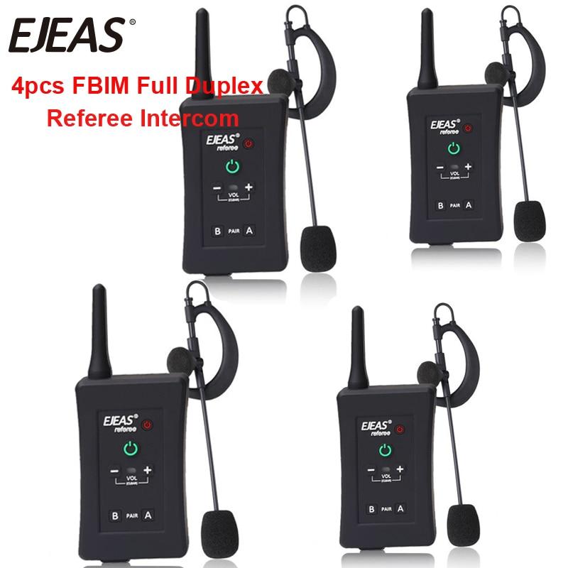 4pcs 2018 Latest EJEAS Brand Football Referee Intercom Headset FBIM 1200M Full Duplex Bluetooth Motorcycle Interphone Wireless