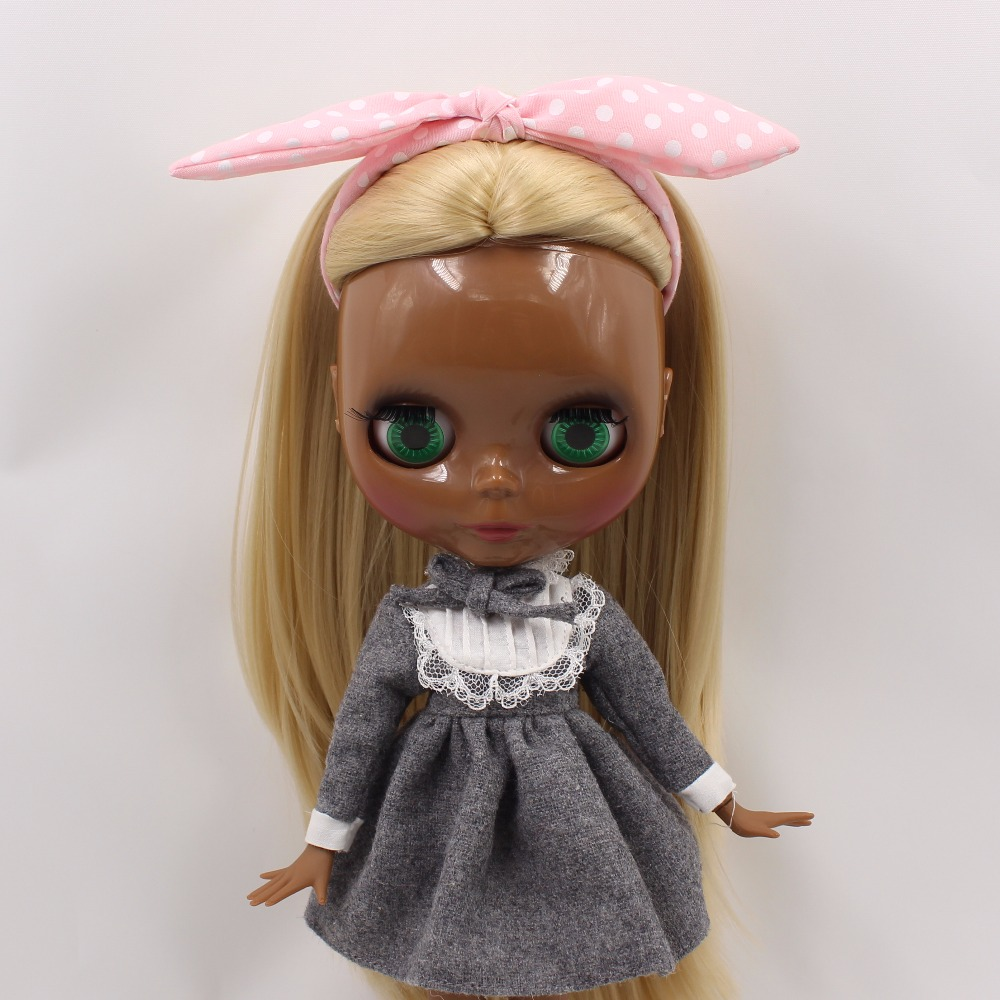 Neo Blythe Doll with Blonde Hair, Black Skin, Shiny Face & Jointed Body 3