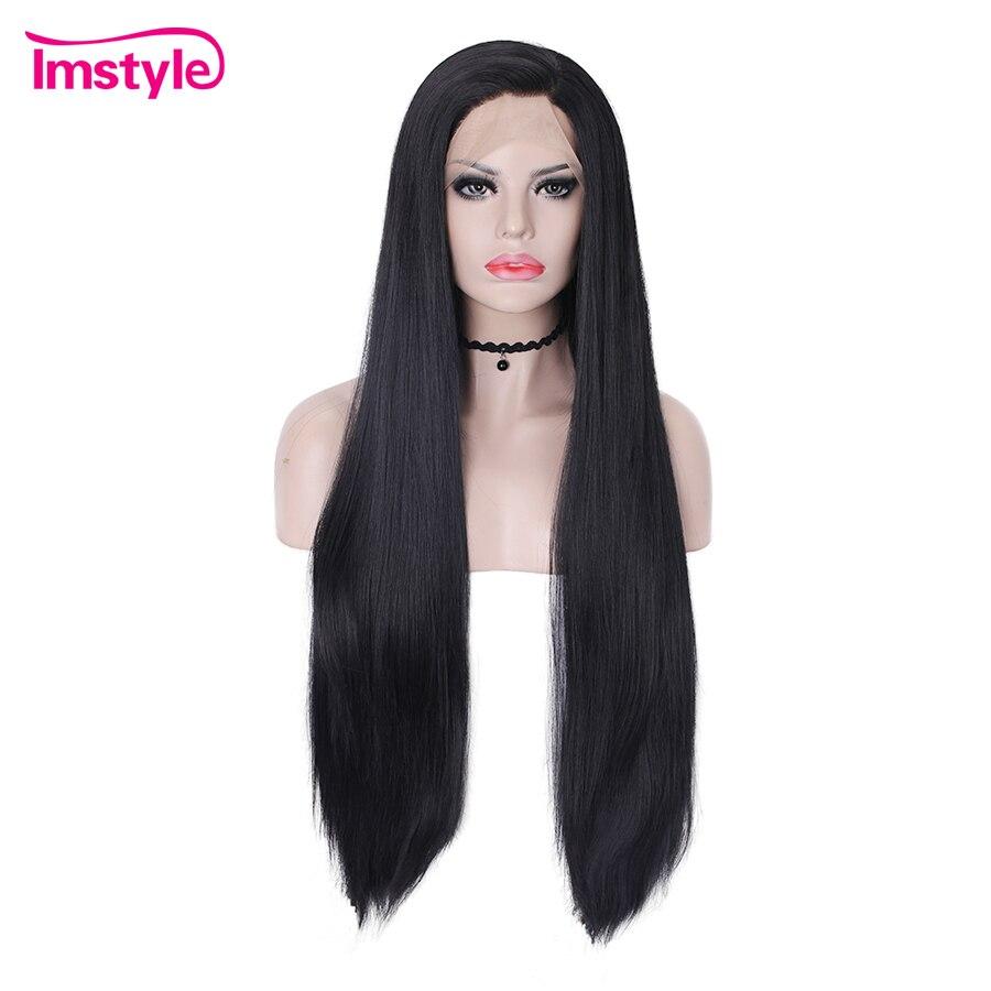 Imstyle черный парик Длинные Синтетические волосы на кружеве парики натуральные прямые волосы парики для Для женщин жаропрочных волокна Коспл...