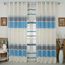 Home Garden - Home Textile - Mediterranean Blue White Gray Striped Jacquard Art Modern Fancy Cotton Linen Curtain Cloth And Voile Tulle Living Room Bedroom