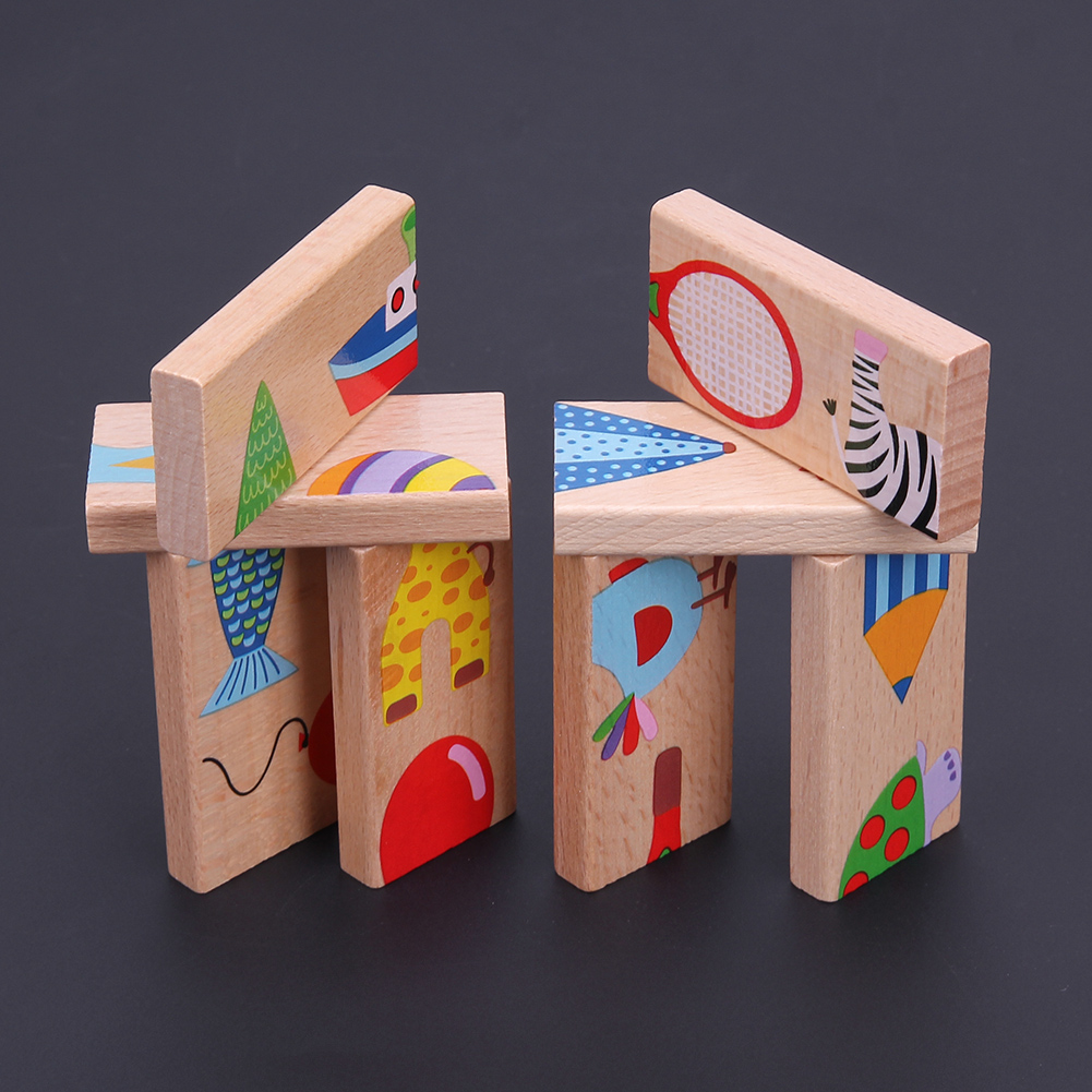 1 Set Animal Colored Dominoes Wooden Puzzle Cartoon Montessori Educational Baby Toys Cute Birthday Gifts Funny Kids Games