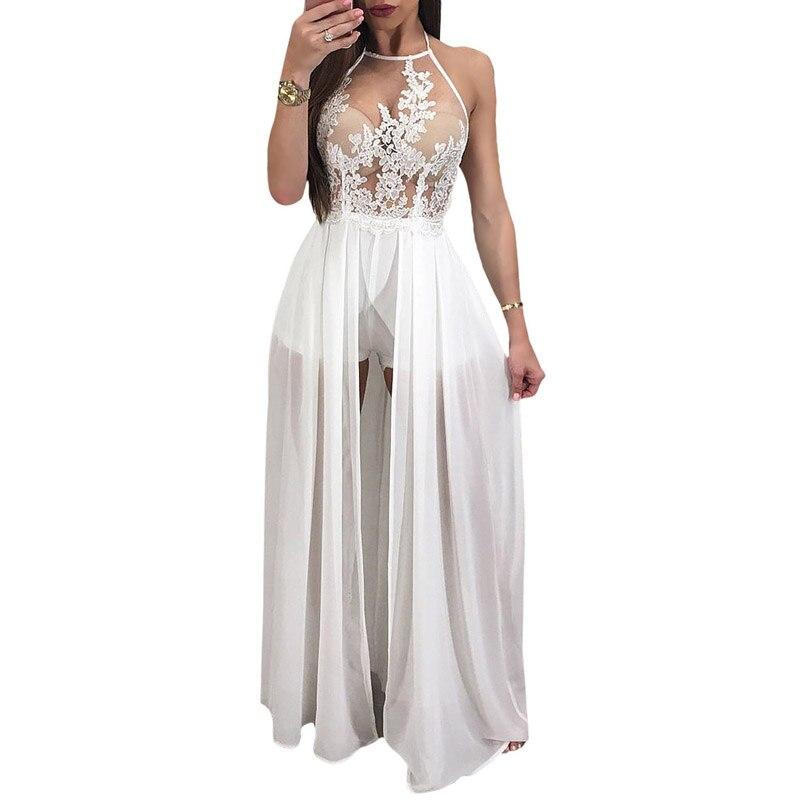 Aliexpress Women Ross Dresses Party Evening Runway Y Fashion Sleeveless Halter Backless Chiffon Romper Summer Long Maxi Dress 2018 From