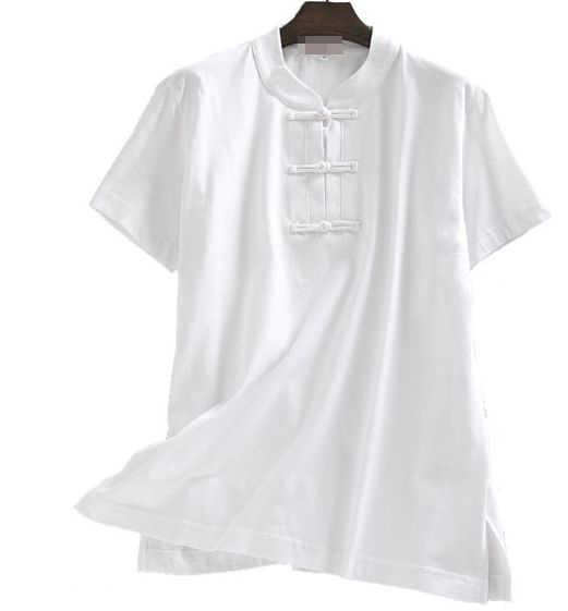 ユニセックス夏の綿半袖カンフー武道シャツレイ瞑想スーツ武術太極拳詠春制服 grayblue
