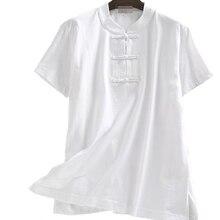 Shirts Meditation-Uniforms Martial-Arts Kung-Fu Summer Cotton Short Lay Tang-Suit Tai-Chi