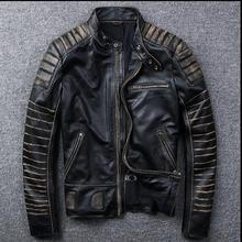 Free shipping New Vintage Brand clothing mens cow leather Jackets men genuine Leather biker jacket motorcycle