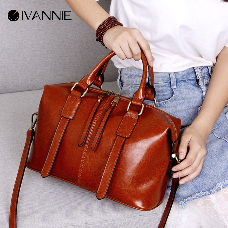 2018 Genuine Leather Boston Bag For Women Shoulder Bag High Quality Cowhide Handbag Women Bag Designer