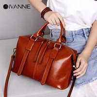 2018 Genuine Leather Boston Bag For Women Shoulder Bag High Quality Cowhide Handbag Women Bag Designer sac a main bolsa Tote Bag