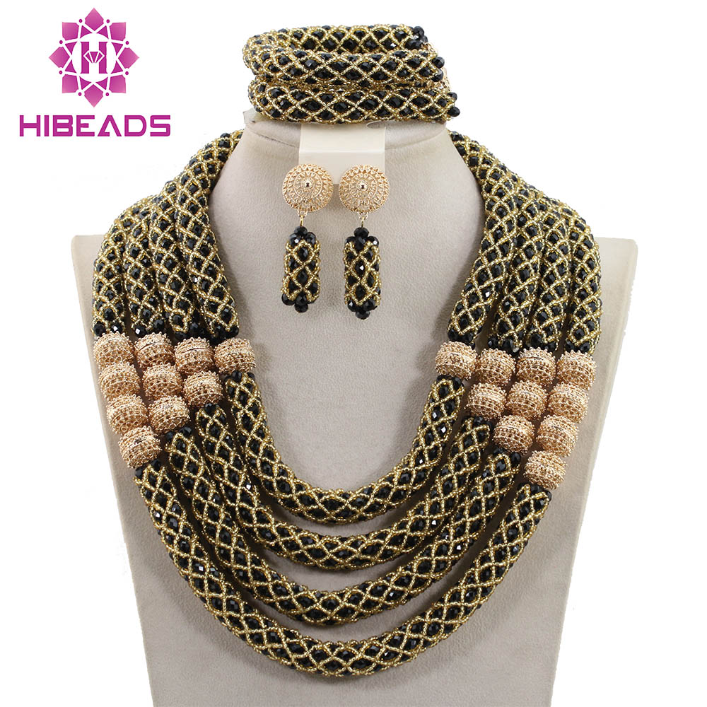 Fabulous Black and Gold Women Crystal Jewelry Sets African Inspired Wedding Necklace Set New Free Shipping WD680Fabulous Black and Gold Women Crystal Jewelry Sets African Inspired Wedding Necklace Set New Free Shipping WD680